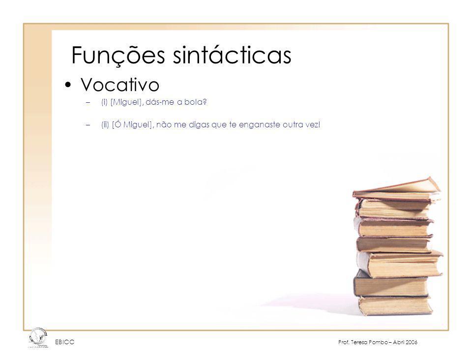 Funções sintácticas Vocativo (i) [Miguel], dás-me a bola